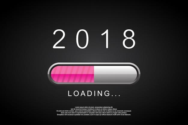 2018 Loading Bar Happy New Year 2018 Vector Premium
