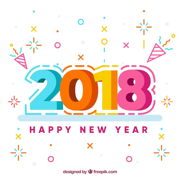 Happy New Year Flat Design 2