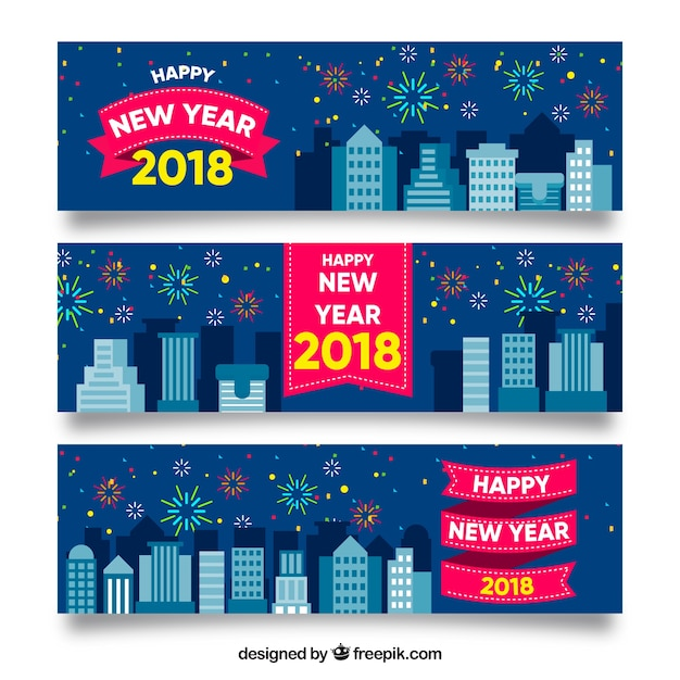 2018 new year banners Free Vector