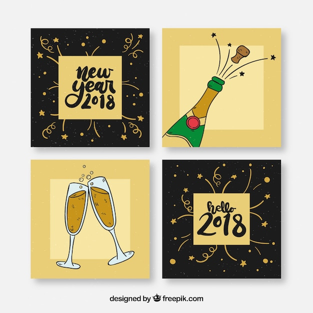 2018 new year card pack with drawings