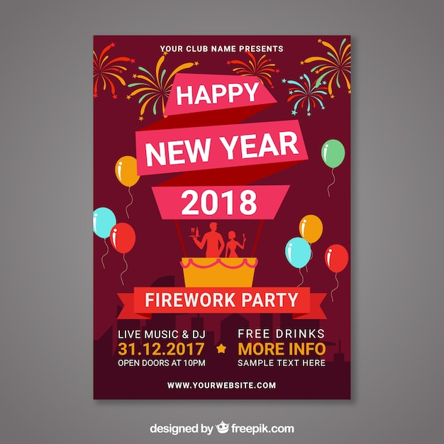 2018 new year card free vector