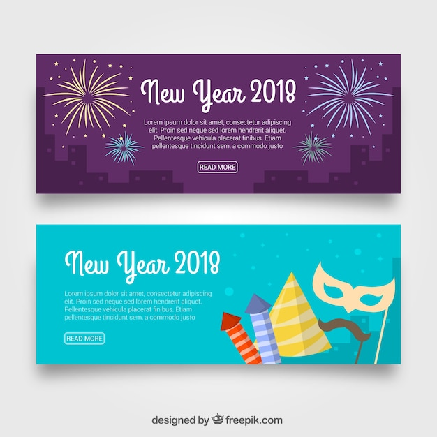 2018 new year celebration banners free vector