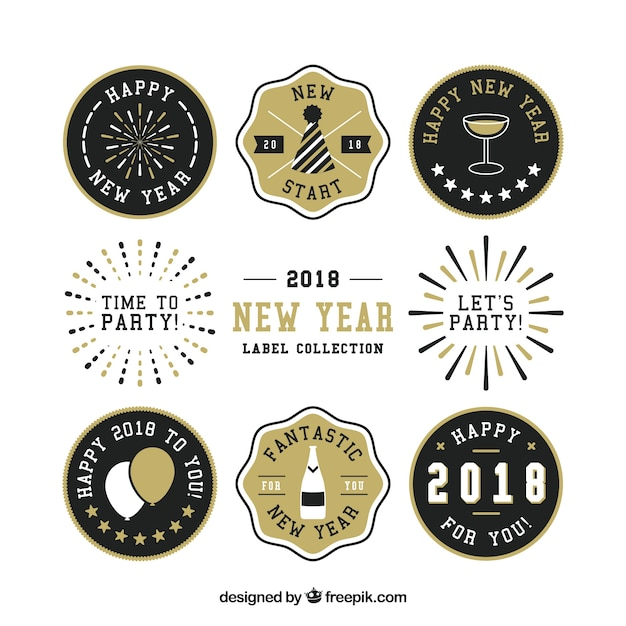 2018 new year label collection free vector
