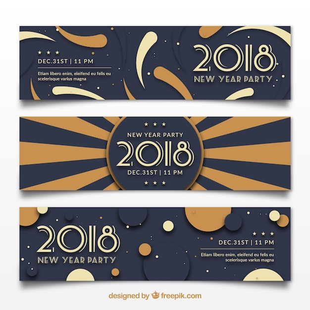 2018 new year party banners Free Vector