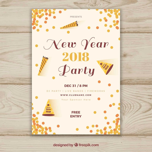 2018 new year party poster with confetti free vector