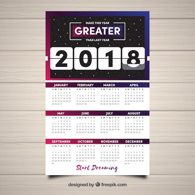 2018 space calendar Free Vector