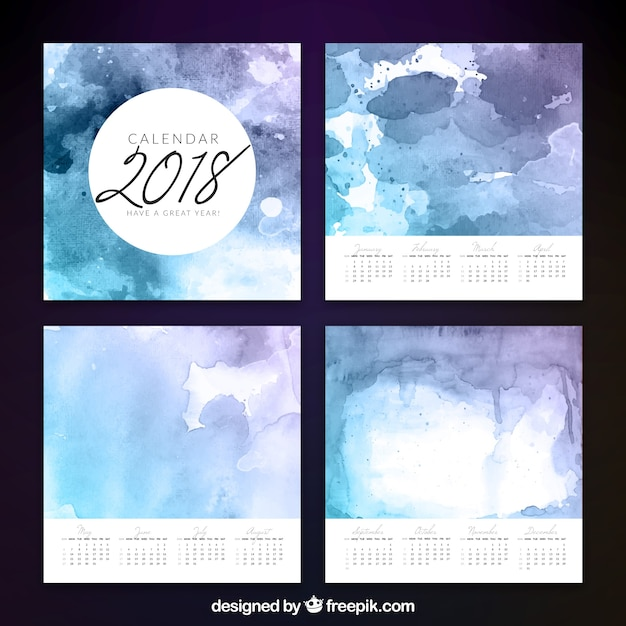 Calendar Artistic : Watercolor artistic calendar vector free download