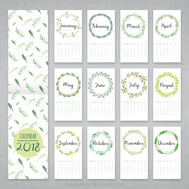 2018 Watercolor Leaves Calendar Vector Free Download
