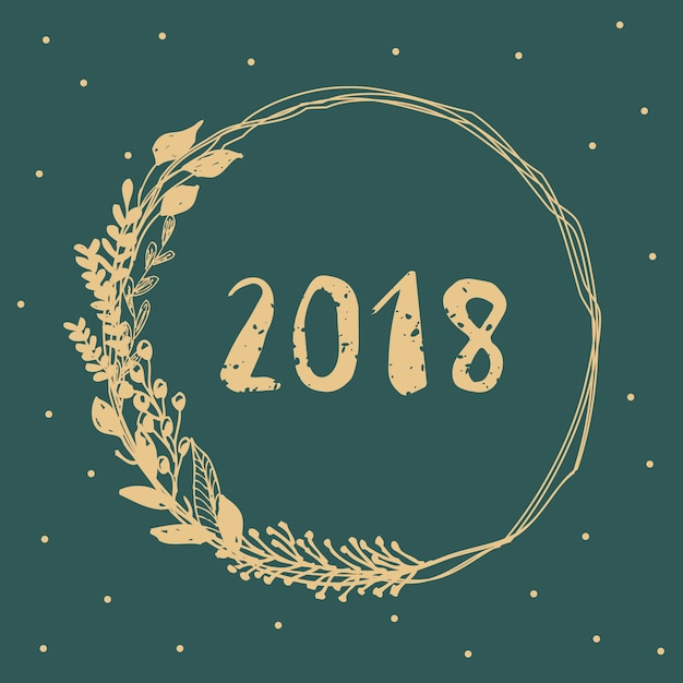 2018 With Gold Leaves Wreath And Emerald Background Premium Vector