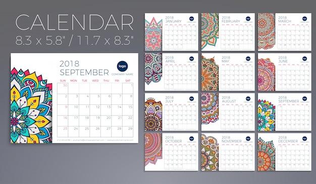 カレンダー2018。ヴィンテージ装飾要素。東洋のパターン、ベクトルイラスト。 無料ベクター