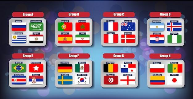 Футбольная доска чемпионата мира по футболу 2018 по группам Premium векторы