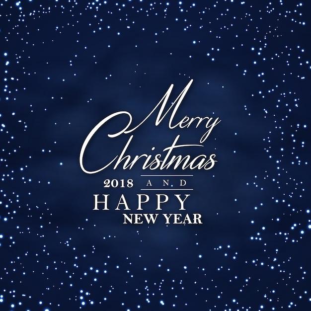 暗い夜のメリークリスマスと新年あけましておめでとうございます2018ポスターの背景 無料ベクター