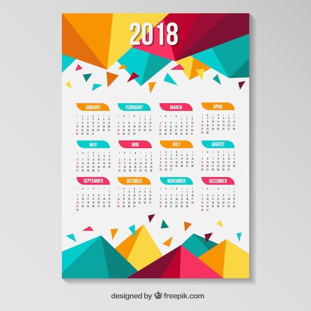 2018カレンダー(色付きポリゴンあり) 無料ベクター