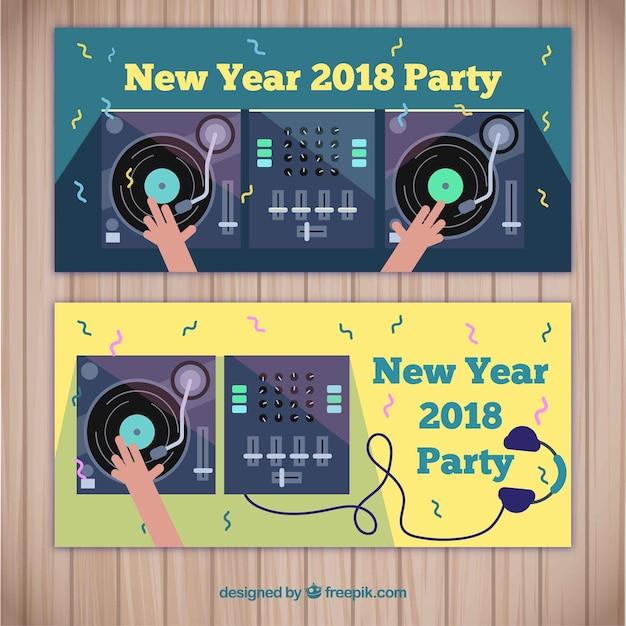 Новогодние баннеры 2018 года Бесплатные векторы