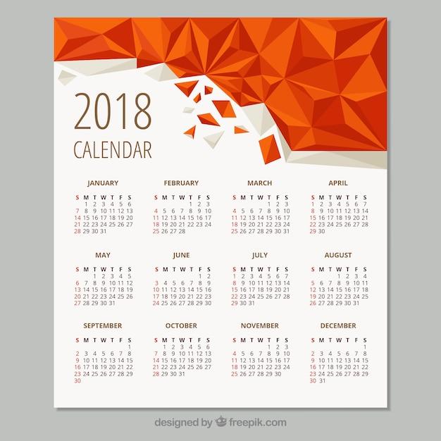 幾何学的カレンダー2018 無料ベクター