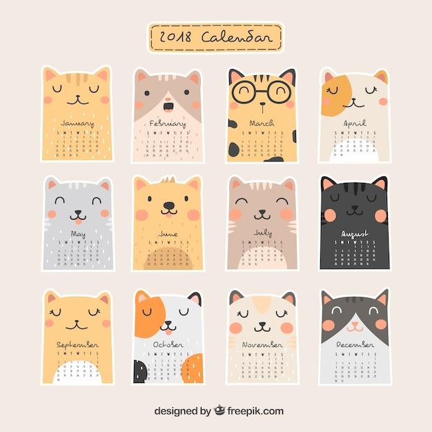 Красивый календарь 2018 Бесплатные векторы
