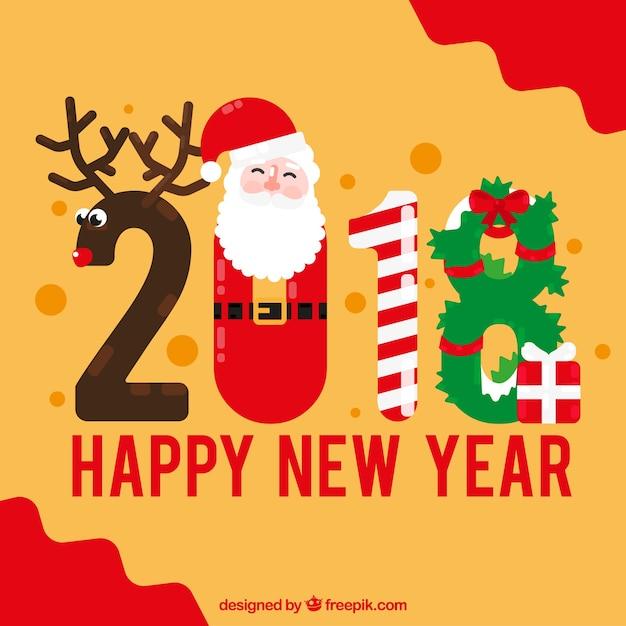 2018 в форме рождественских атрибутов Бесплатные векторы