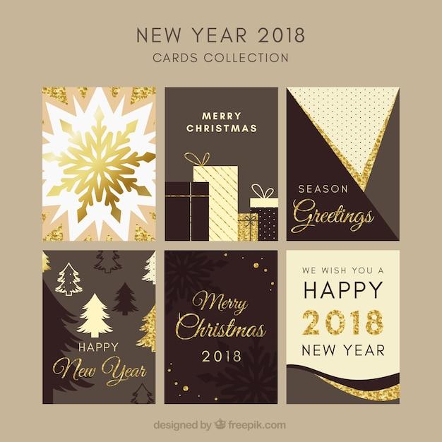 Сбор нового года 2018 в шоколадных тонах Бесплатные векторы