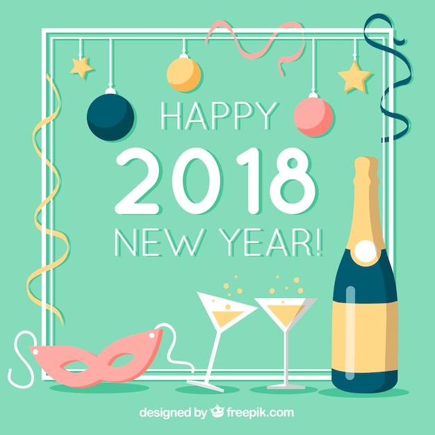 Новый год 2018 фон Бесплатные векторы