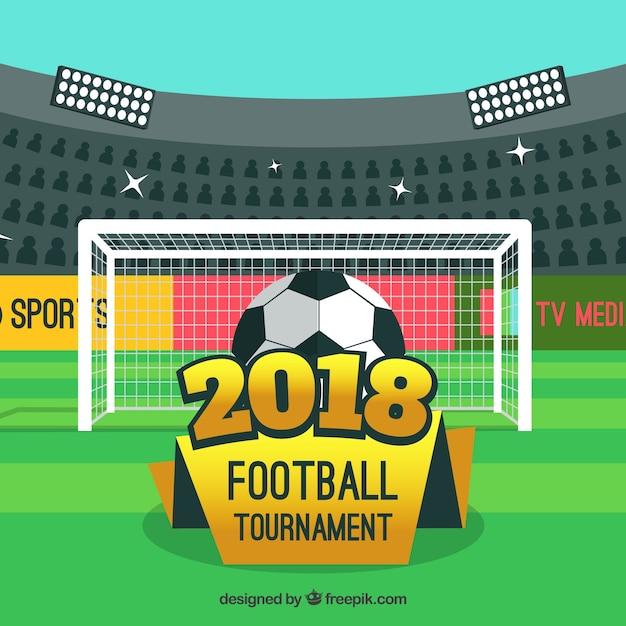 フラットスタイルの2018年のワールドフットボールカップの背景 無料ベクター