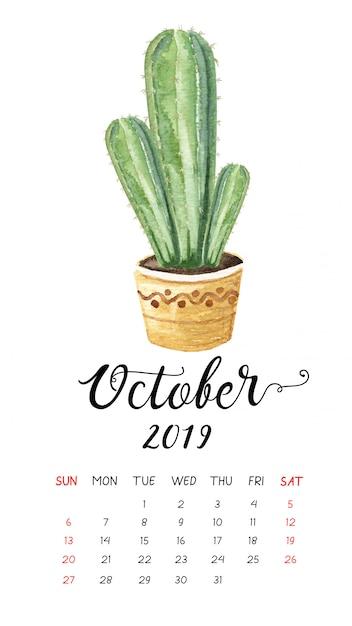 2019年10月の水彩サボテンカレンダー。 Premiumベクター