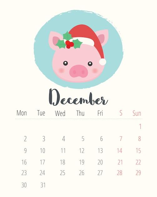 カレンダー2019.かわいい豚。 12月の月。 Premiumベクター