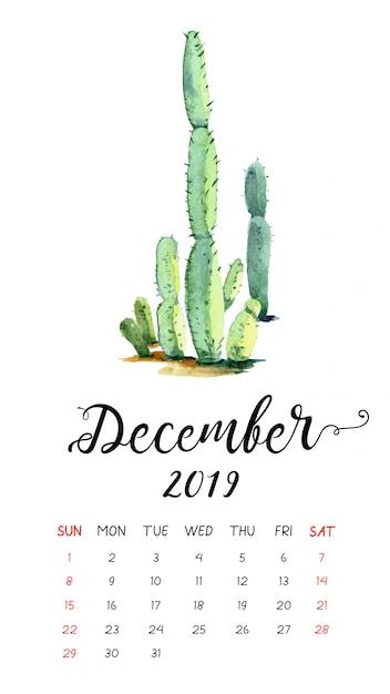 2019年12月の水彩サボテンカレンダー。 Premiumベクター