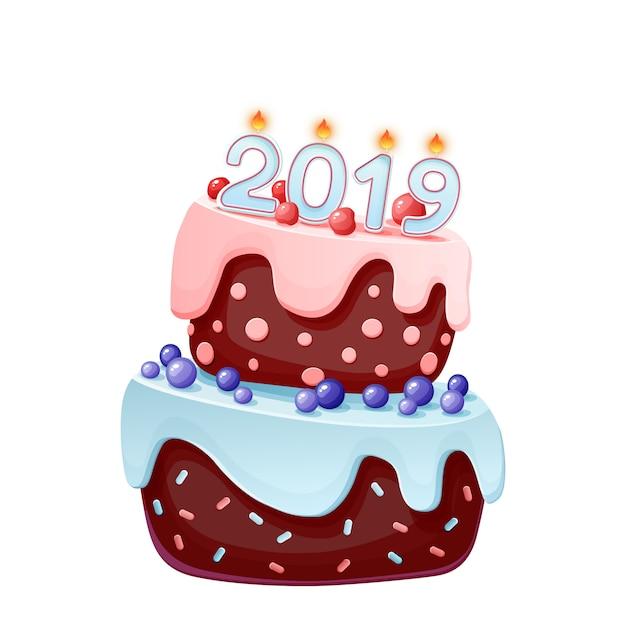 お祝いのケーキの2019年のろうそく。新年あけましておめでとうございさん2019イラスト Premiumベクター