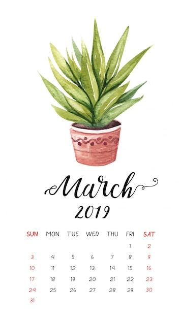 2019年3月の水彩サボテンカレンダー。 Premiumベクター