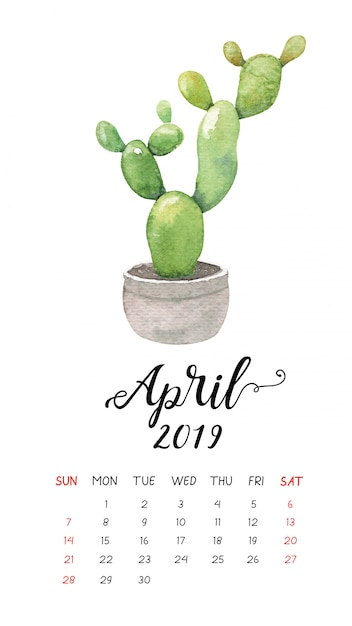 2019年4月の水彩サボテンカレンダー。 Premiumベクター