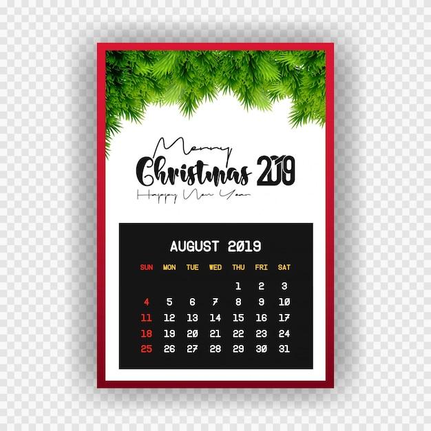 クリスマスハッピーニューイヤー2019カレンダー8月 無料ベクター