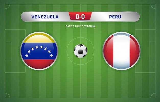 ベネズエラ対ペルーのスコアボード放送サッカー南アメリカのトーナメント2019、グループa Premiumベクター