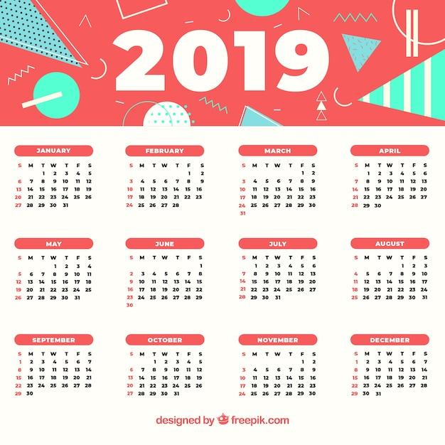 Calendario 2019 Illustrator.2019 Abstract Calendar Vector Free Download