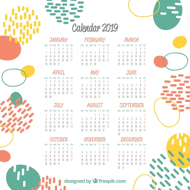 2019 Abstract Calendar Vector Free Download