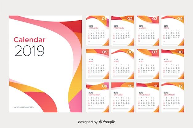 Календарь 2019 года Бесплатные векторы