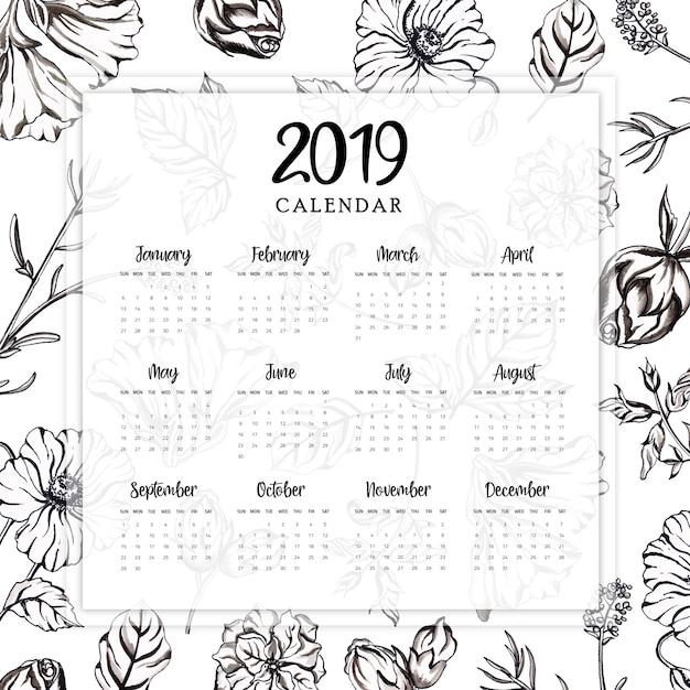 Calendario Vector Blanco.2019 Annual Calendar With Watercolor Black And White Floral