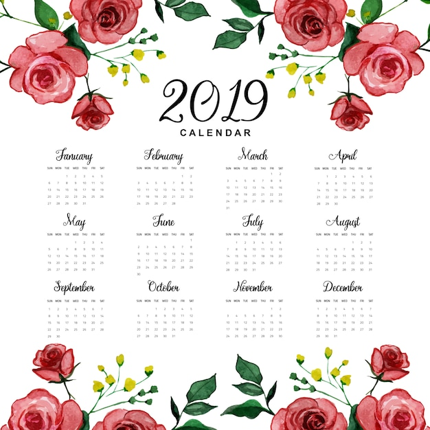 2019 2020 Floral Desk Calendar: 2019 Annual Calendar With Watercolor Floral Vector