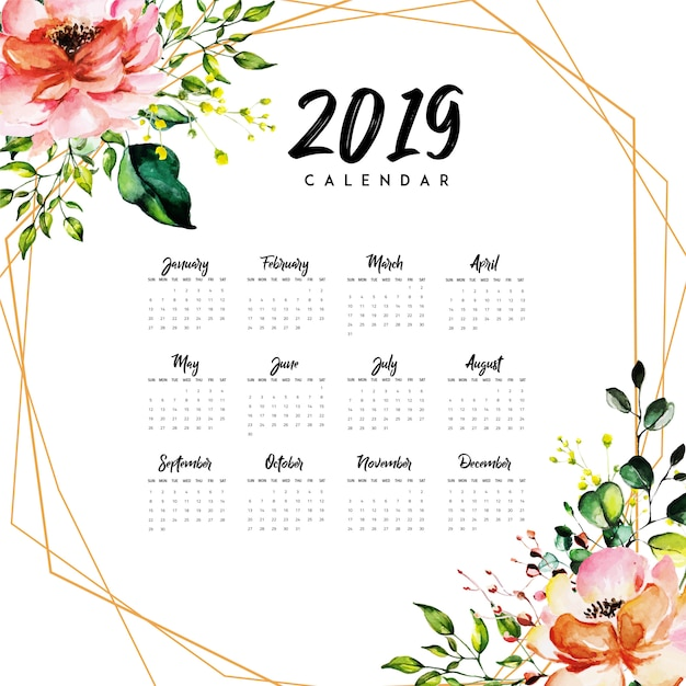 2019 annual calendar with watercolor floral premium vector