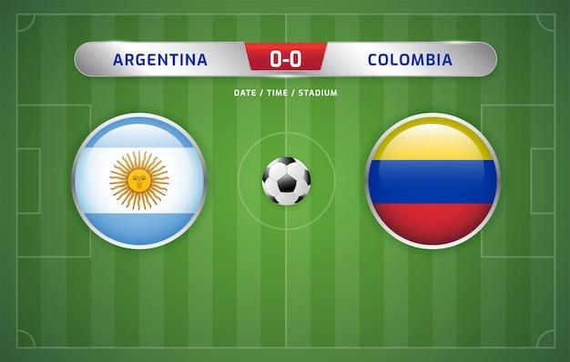 アルゼンチン対コロンビアスコアボード放送サッカー南アメリカのトーナメント2019、グループb Premiumベクター