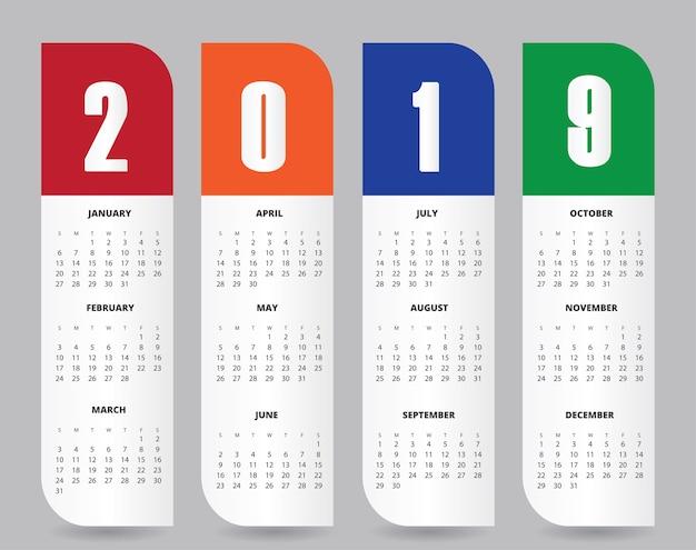 Calendario 216.2019 Calendar Design For Print Or Background Vector