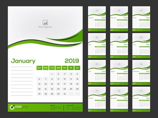 Desain kalender 2019, set 12 bulan.  Vektor Premium