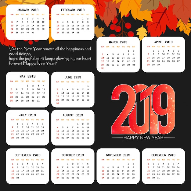 2019 calendar design with black background vector Free Vector