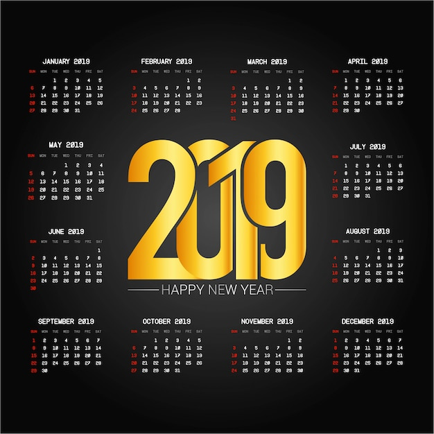 2019 calendar design with black background vector Free Vector