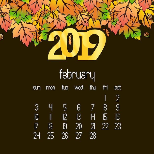 2019 calendar design with drak brown background vector Free Vector