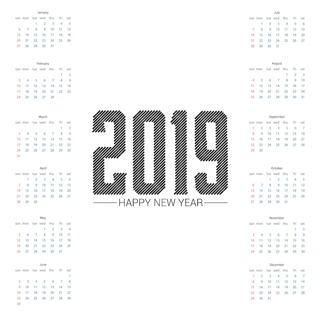 2019 calendar design with light background vector Free Vector