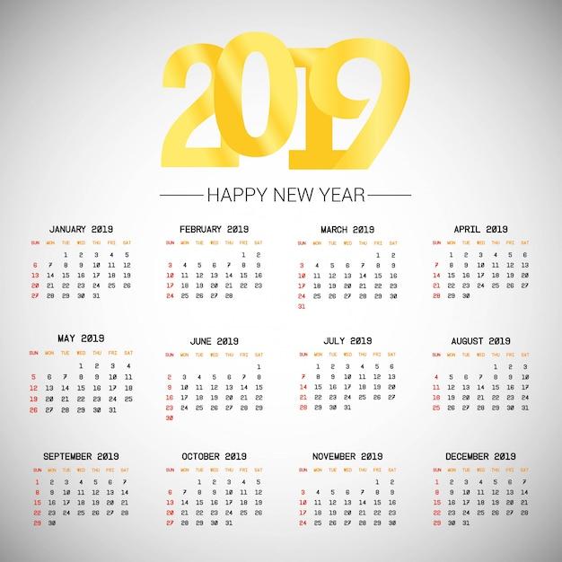 2019 calendar design with light background vector Free Vector