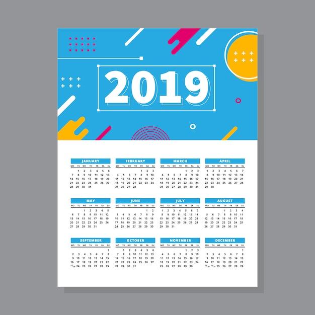 2019カレンダーメンフィススタイル Premiumベクター