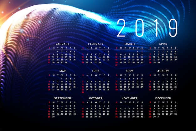 2019 calendar poster design in technology style Free Vector