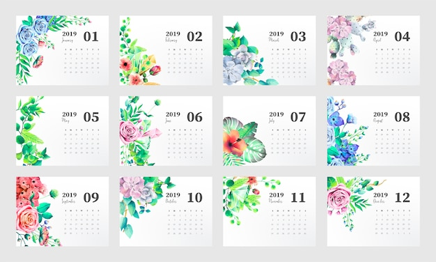 2019 Calendar Template With Beautiful Watercolor Flowers Vector