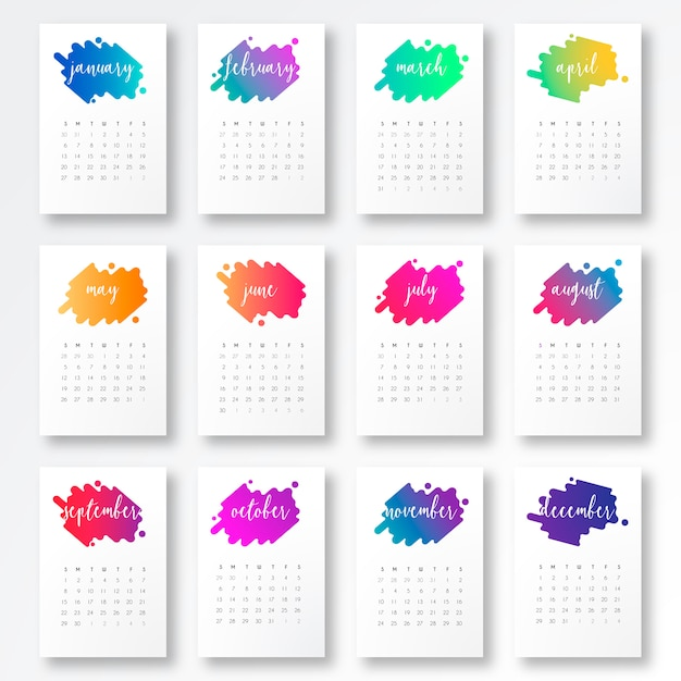 Printable Calendar Kawaii : Calendar template with colorful shapes vector free
